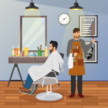 Barber shop flat design with hairdresser with working tools and client in chair near mirror vector illustration Vetores