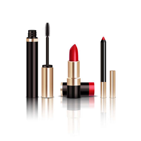 Makeup realistic items set with mascara and lipstick isolated vector illustration 向量圖像