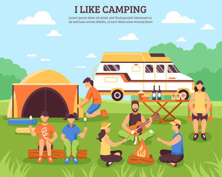 Camping and hiking composition with group of young people flat characters during outdoor recreation summer travel vector illustration Vetores