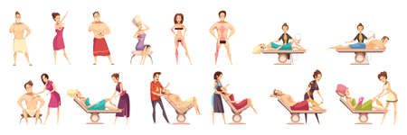 Colored and isolated hair removal depilation epilation icon set with professionals conduct hair removal session vector illustration