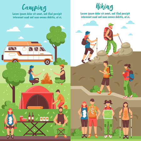Camping hiking vertical banners set with editable text and compositions of people characters in outdoor environment vector illustration Ilustración de vector
