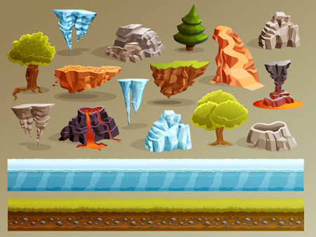 Game cartoon elements set with pieces of fantasy landscapes trees stones ice cellar and vulcanic edifice vector illustration Vetores