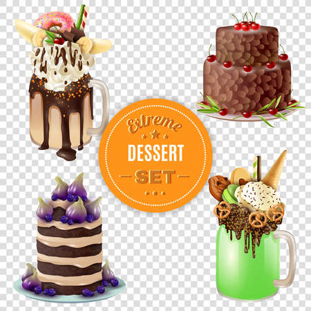 Super sweet and rich 4 festive combo extreme desserts set with freakshake on transparent background vector illustration