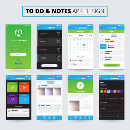 Mobile apps design for notes and projects on smartphone screens with icons and settings isolated vector illustration