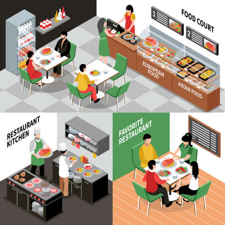 Food court isometric concept with various restaurant rooms salle and kitchen interiors with people and furniture vector illustration