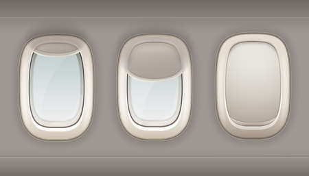 Three realistic portholes of airplane from white plastic with open and closed window shades vector illustration