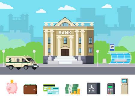 Orthogonal concept with city bank office and financial tools including money and computer technologies isolated vector illustration
