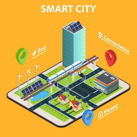 Smart home conceptual background with isometric modern cityscape composition on top of tablet screen with symbols vector illustration