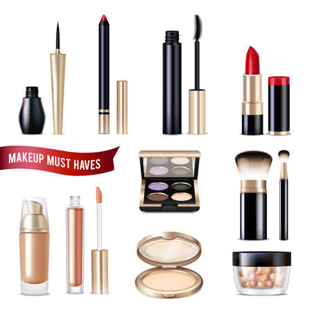 Makeup realistic items set with powder eyeliner and lip gloss isolated vector illustration