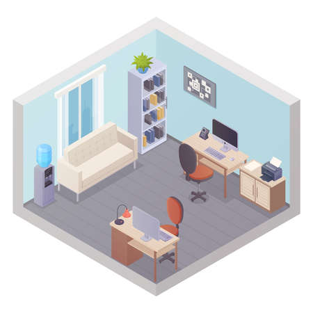 Isometric office interior with two workplaces stuff cabinet cooler table with printer and sofa for visitors vector illustration