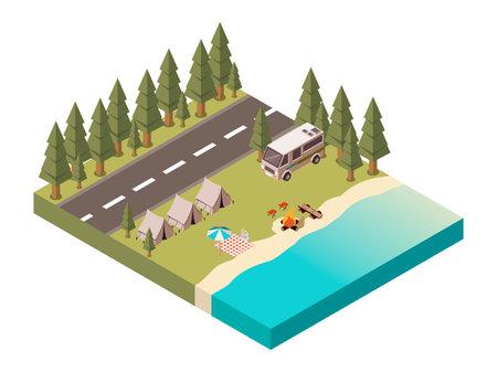 Camp isometric design with road tents and van bonfire near lake picnic blanket under umbrella vector illustration
