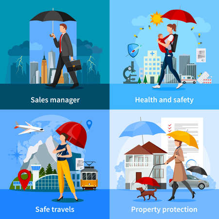 Concept in flat style with agent and insurance services for health travel and property isolated vector illustration