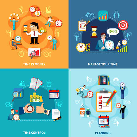 Square time management design concept set with round pictogram compositions organizer icons people and alarm reminder vector illustration
