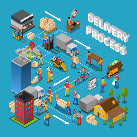 Delivery process concept composition with logistics symbols on blue background isometric vector illustration