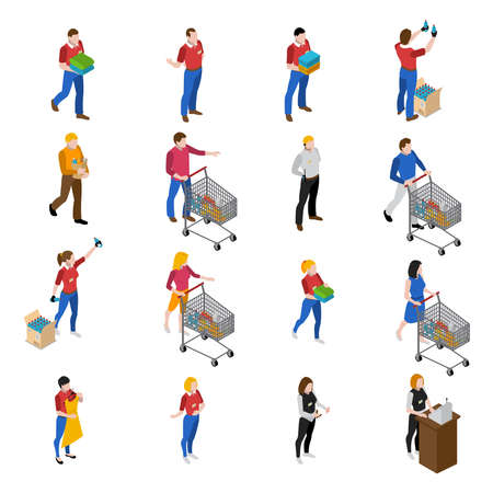 Supermarket isometric icons set with people and food isolated vector illustration Vektorové ilustrace