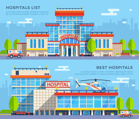 Modern many-storeyed hospital buildings with emergency car and helicopter on cityscape background flat banners isolated vector illustration