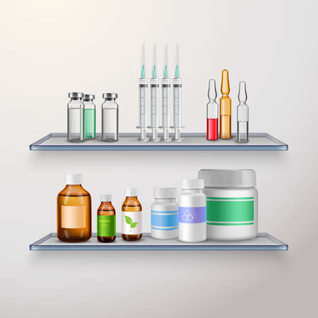Medical drugs realistic composition with two vitreous shelves and various medication for vaccination and internal use vector illustration