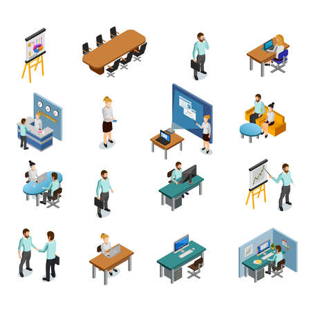 Isometric Business People Icons Set Vector Illustration