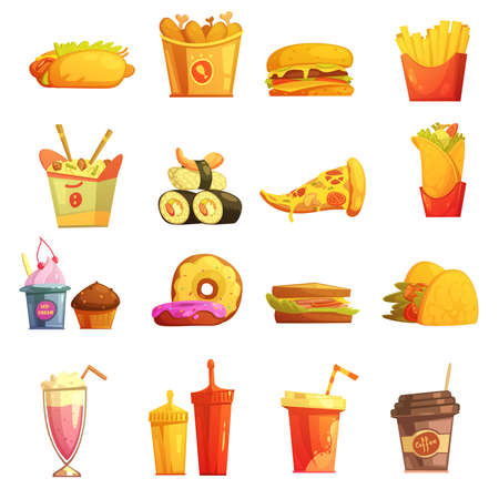 Fast food retro cartoon icons collection with hot dog sushi hamburger and donuts abstract isolated vector illustration