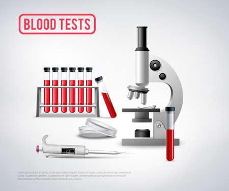 Medical realistic background with microscope unit and set of glass vials filled with blood for testing vector illustration