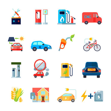 Alternative energy icons set with cars and bicycles symbols flat isolated vector illustration