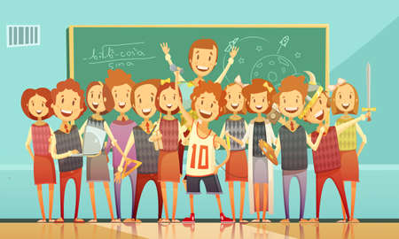 Classic school education classroom retro cartoon poster with standing smiling kids and chalkboard on background vector illustration