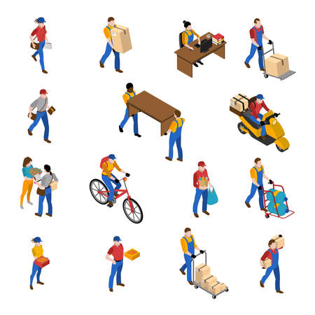 Logistics and delivery isometric icons set with warehouse symbols isolated vector illustration