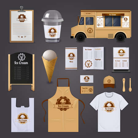 Ice cream corporate identity realistic design icons set on grey background isolated vector illustration