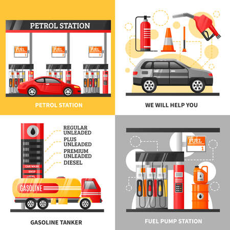 Gas and petrol station 2x2 design concept with petrol station gasoline tanker and fuel pump station flat vector illustration Vecteurs