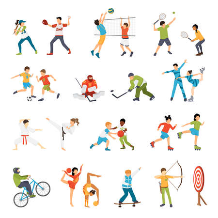Flat icons set of kids doing different types of sports from football to archery isolated vector illustration