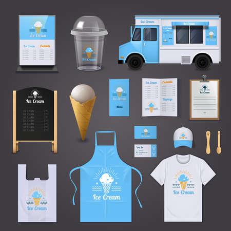 Ice cream corporate identity realistic icons set with apron menu and van isolated vector illustration Vector Illustratie