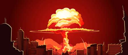 Nuclear explosion bright orange fiery mushroom cloud cap in city center retro cartoon poster abstract vector illustration