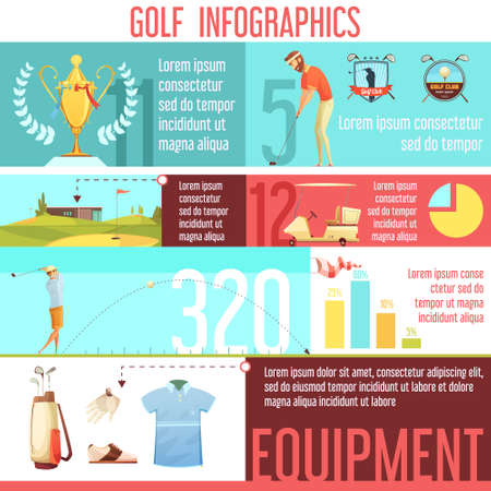 Golf sport popularity by country in worlds statistics and best equipment choices infographic retro cartoon poster vector illustration Ilustración de vector