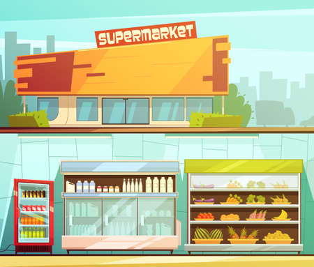 Supermarket building entrance street view and groceries dairy shelves indoor 2 retro cartoon banners set isolated vector illustration Vetores
