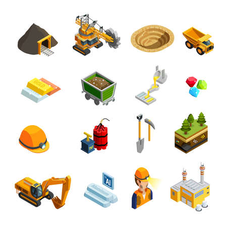 Mining isometric icons set with minerals symbols isolated vector illustration