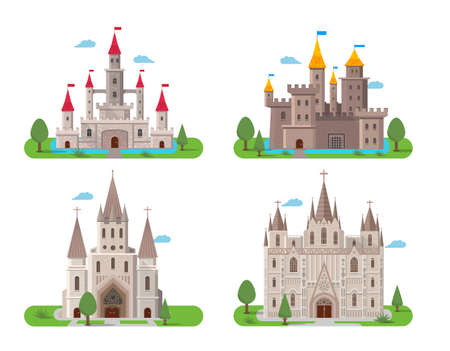 Medieval ancient castle buildings flat icons set isolated vector illustration