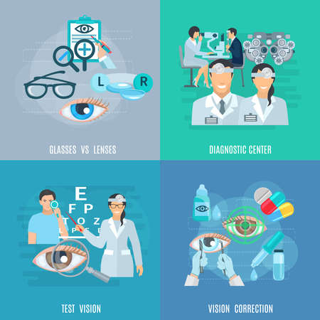 Oculist ophthalmic diagnostic center equipment for vision test and correction 4 flat icons square abstract isolated vector illustration