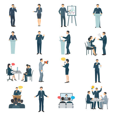 Public speaking skills flat icons collection with conference presentation visual aid and training abstract isolated illustration vector