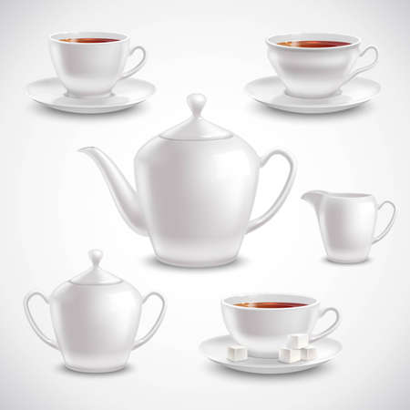 Realistic tea set with filled teacups saucers pot and sugar bowl on white background vector illustration Vector Illustratie