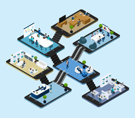 Isometric abstract scheme with 3d icons of rooms of online office placed on tablet styled platforms vector illustration Vettoriali