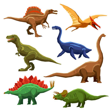 Dinosaurs color icons set in cartoon style on white background isolated vector illustration Vettoriali