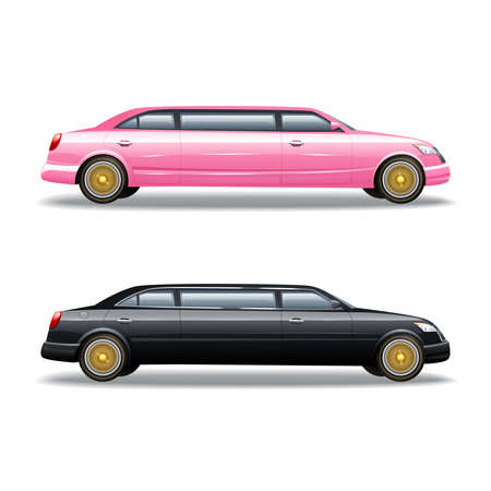 Luxury limousine car for celebrities or government politicians two isolated banners icons in pink and black vector illustration