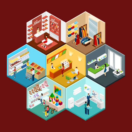 Shopping mall hexagonal honeycomb isometric pattern composition with toys clothing and grocery department stores abstract vector illustration