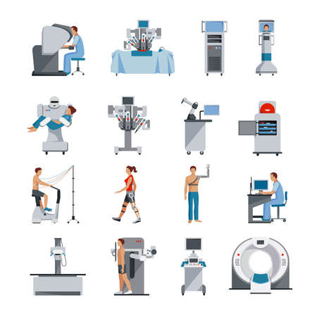 Bionic icons with surgical and diagnostic equipment robot assistant and people orthopedic prosthetics isolated vector illustration Ilustración de vector