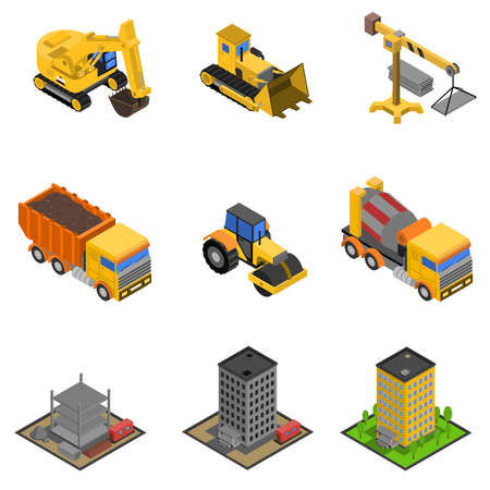Construction isometric icons set with paver excavator and bulldozer isolated vector illustration