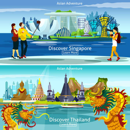 Asian travel banners set with Thailand and Singapore panorama isolated vector illustration Vector Illustration
