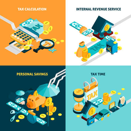 Tax isometric concept icons set with personal savings symbols isolated vector illustration
