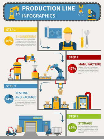 Production line infographics with engineering manufacture testing and package storage vector illustration