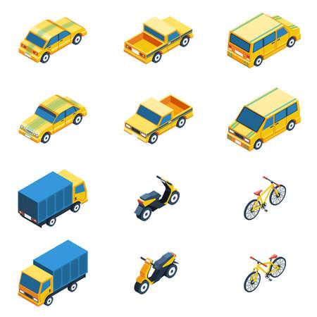 Transport Isometric Set. Transport Vector Illustration. Transport Isolated Elements.Transport Icons Set. Transport Means Collection.