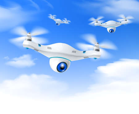 White modern surveillance drones set in flight against bright blue sky background poster realistic vector illustration